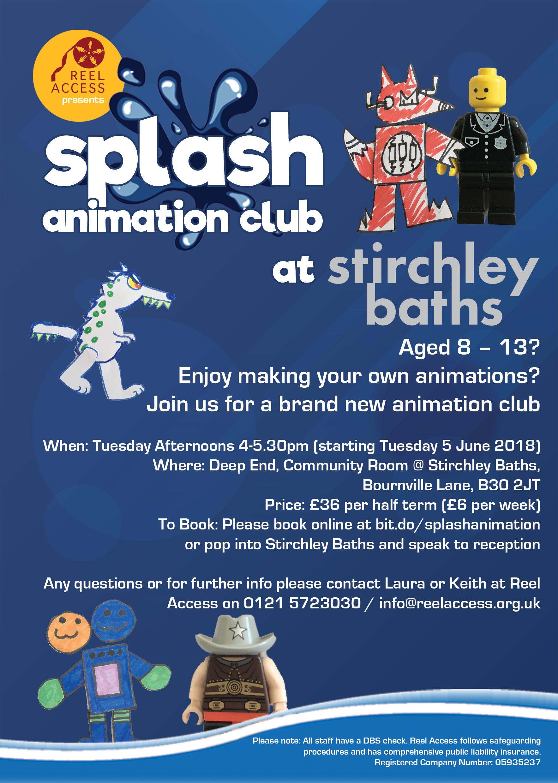 reel access presents splash animation club at stirchley baths tickets